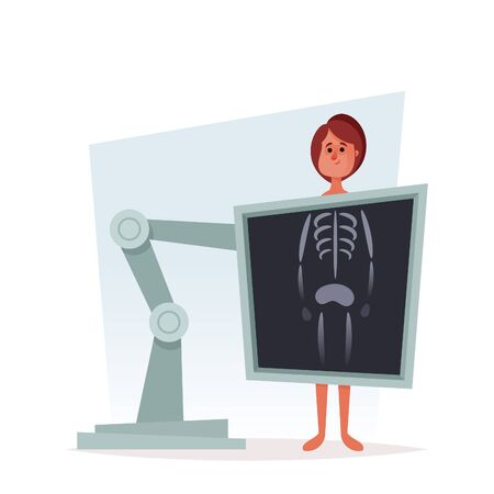 Cute cartoon character. X-Ray Medical Scanning. Vector Illustration Foto de archivo - 133741793