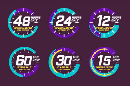 Limited time offer with 48, 24, 12 hour and 60, 30, 15 minute only set. Free shipping, up to 50 percent limited discount super flash sale clock face design banner template vector illustration isolated