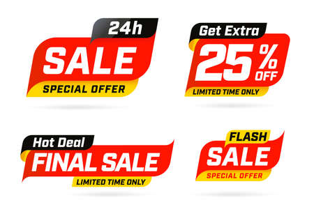 Special limited time get extra sale offer hot deal template. Price reduction up to 25 percent off, flash discount final wholesale during short period vector illustration isolated on white background