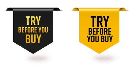 Try before you buy offer black yellow sale tag ribbon edge. Set of realistic three-dimensional glossy silky bookmark tape with product test advertising vector illustration isolated on white background