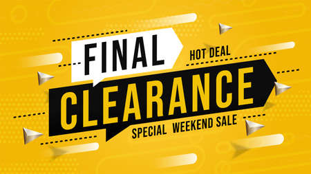 Sale banner with final clearance special hot deal on weekend. Discount promotion billboard poster offering buy with cheap price. Ecommerce marketing material vector illustration