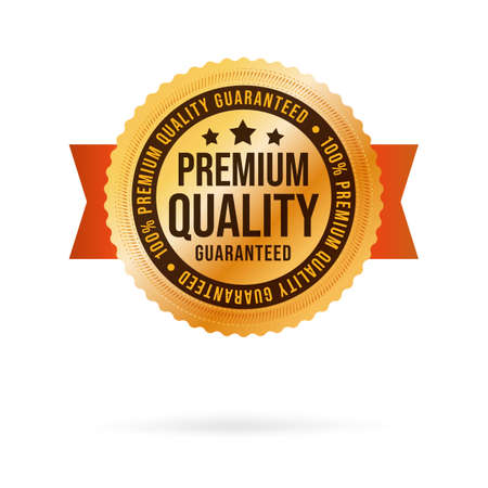 Premium quality golden label with luxury realistic design. Descriptive selling exclusive product with excellent class. Etiquette with ribbon. Vector illustration isolated on white background