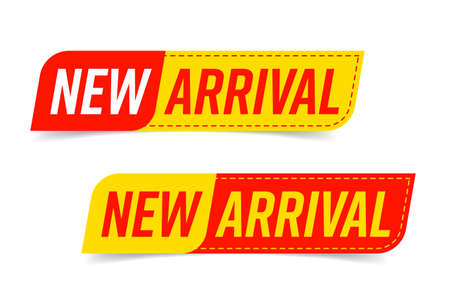 New arrival stitching sticker, label or badge design set. Design element with speech bubble shape and seam for new collection arriving soon at shop. Vector illustration isolated on white background