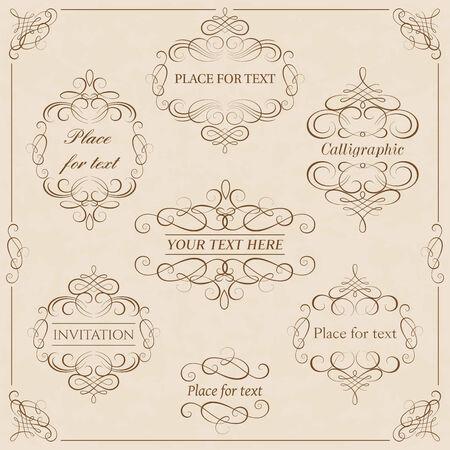 calligraphic design: set - calligraphic design elements