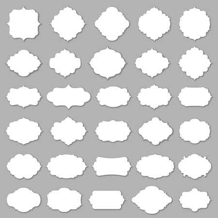set shape: Blank frame and label mega set. Vector illustration.
