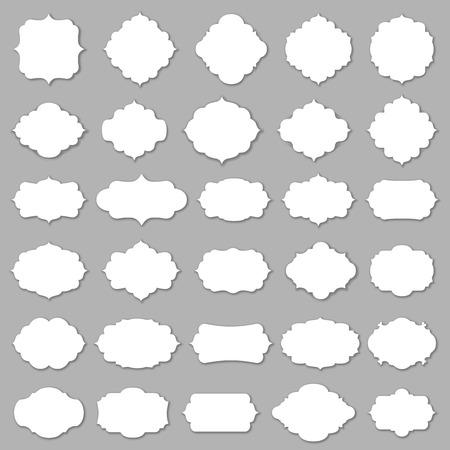 Marco en blanco y etiqueta de mega set. Ilustración del vector. Foto de archivo - 36229939