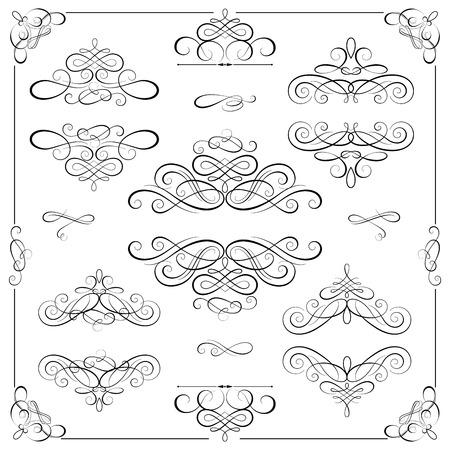 navidad elegante: Vector conjunto - elementos de diseño caligráfico. Marcos de la vendimia