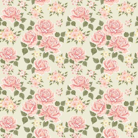 ばらとのシームレスな壁紙パターン。ベクトル イラスト