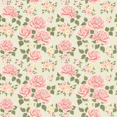 floral decoration: Seamless wallpaper pattern with roses. Vector illustration Illustration