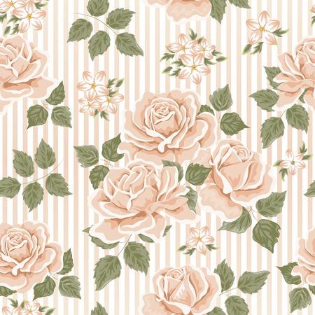 Papel pintado inconsútil con las rosas. Ilustración vectorial Foto de archivo - 37145393