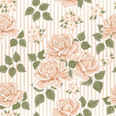 Seamless wallpaper pattern with roses. Vector illustration Ilustracja