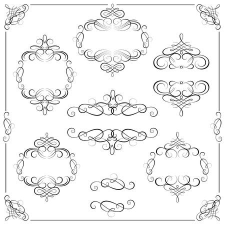calligraphic design: Vector set - calligraphic design elements Illustration