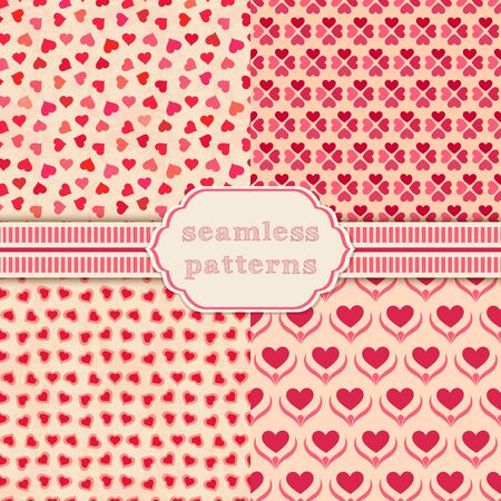 scrapbook background: Heart shape vector seamless patterns. Cover for Valentines day background design Illustration