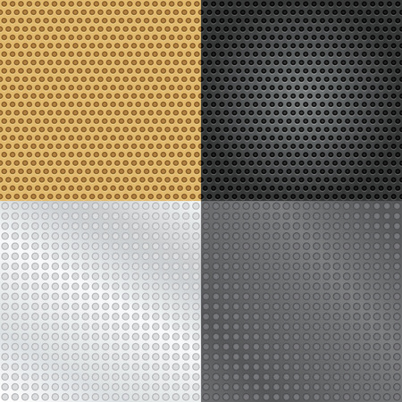speaker grille: Vector set of four seamless patterns. Wallpaper, pattern fills, web page background, surface textures. Illustration