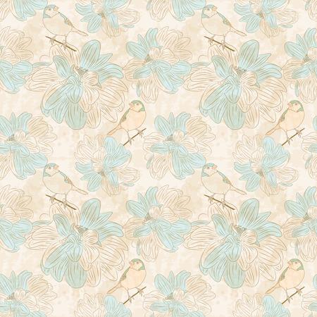vintage background pattern: Seamless floral pattern with birds. Vintage background Illustration