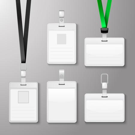 Identificatie witte lege ID-kaarten in te stellen. Vector illustratie