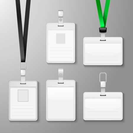 Identification white blank id cards set. Vector illustration