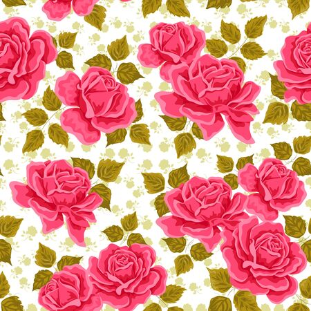floral background: Seamless wallpaper pattern with roses. Vector illustration Illustration