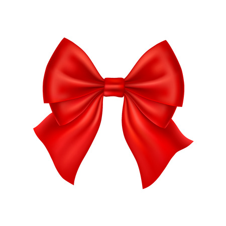 red bow: Realistic red bow isolated on white background. Vector illustration