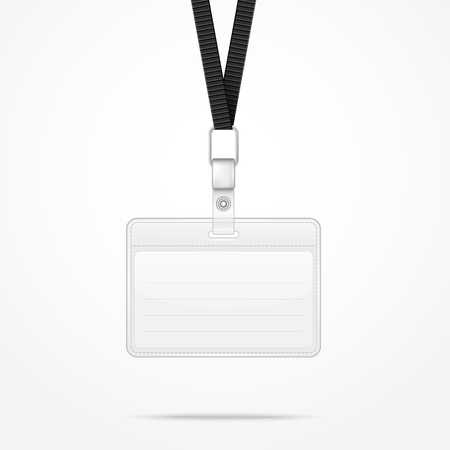 lanyard: Lanyard with Tag Badge Holder. Vector Illustration. EPS10 Illustration