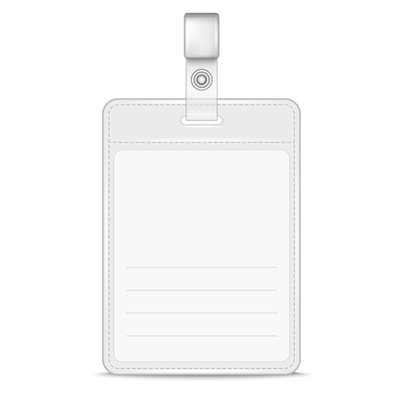 badge holder: Vector Realistic Card Name or Id Holder isolated on white. EPS10 Illustration