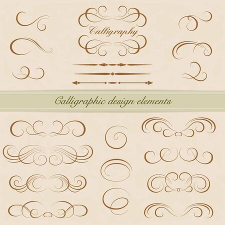 Vector set of calligraphic design elements. Page decoration