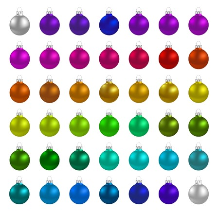 Illustration Christmas multicolor balls isolated on white background - vector Stok Fotoğraf - 48231123