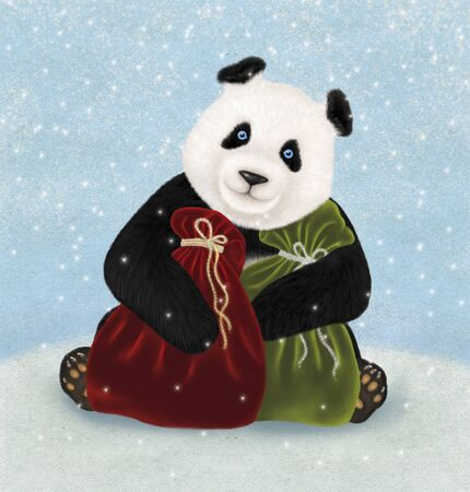 hollyday: Christmas card with Panda bear. Winter background