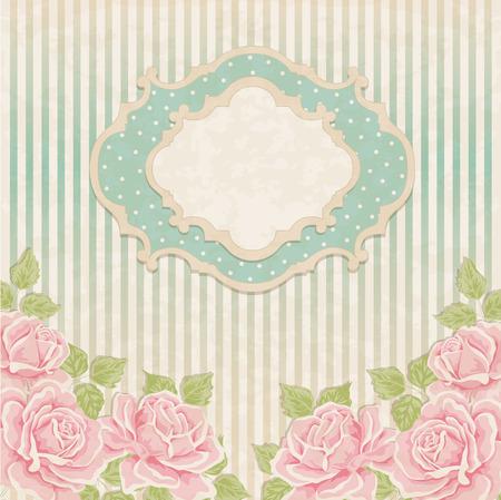 Uitstekende achtergrond met rozen. Wenskaart, uitnodiging
