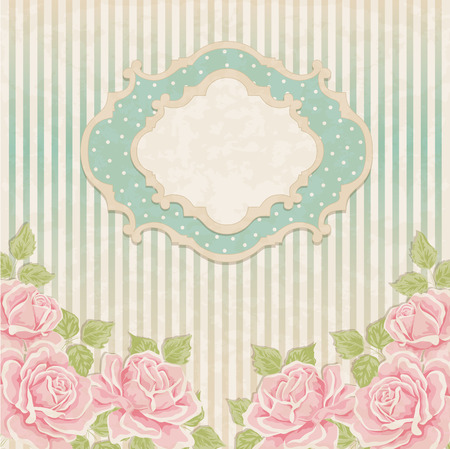 Vintage background with roses. Greeting card, invitation