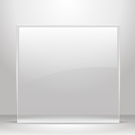 Glass frame for images and advertisement. Empty room.