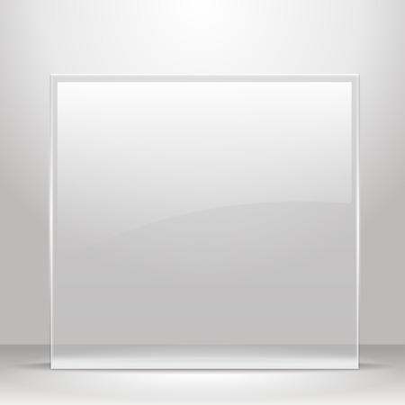 vidrio: Marco de cristal para las imágenes y la publicidad. Habitación vacía.