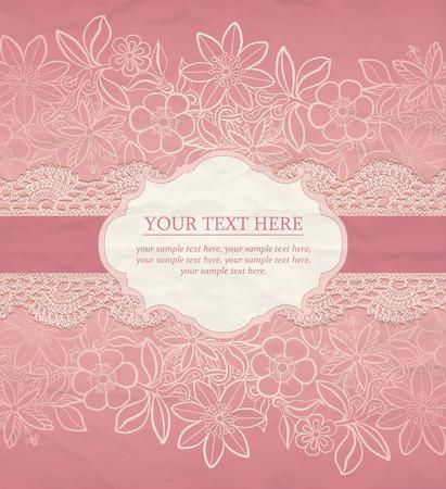 encaje: Fondo floral. tarjeta de felicitaci�n del vector, templat invitaci�n