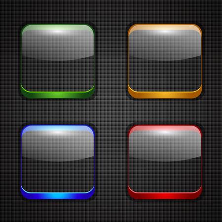 光沢のあるボタンのアイコンのセットです。ベクトル図