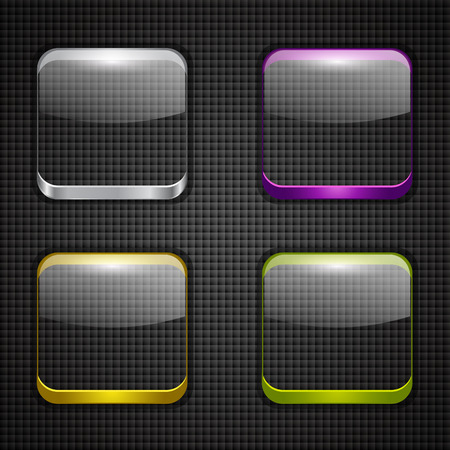 buttons web: Set of glossy button icons. Vector illustration