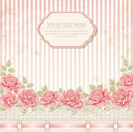 Uitstekende achtergrond met rozen, lint, kant. Vector wenskaart, uitnodiging sjabloon