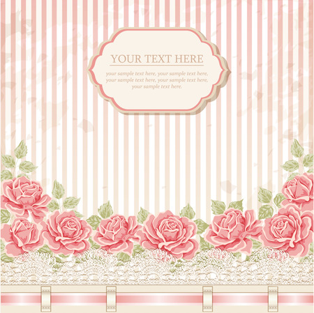 Vintage background with roses, ribbon, lace. Vector greeting card, invitation template Çizim