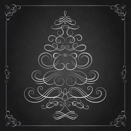 christmas tree illustration: Calligraphy Christmas tree. Vector illustration. Christmas card Illustration