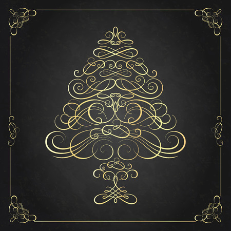 natal: Calligraphy Christmas tree. Vector illustration. Christmas card Illustration