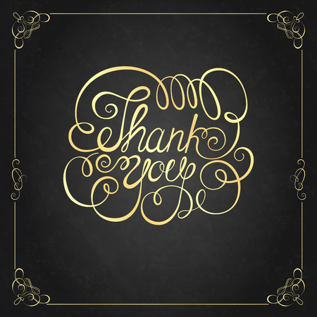 thank you card: THANK YOU Hand lettering. Handmade calligraphy, Vector