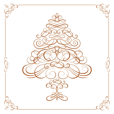 christmas tree illustration: Calligraphy Christmas tree. Vector illustration Illustration