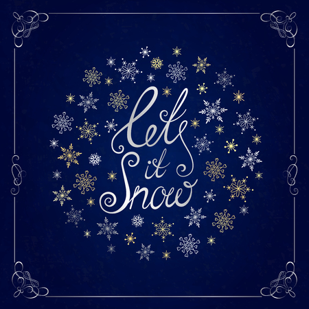 let it snow: Let it snow. Handwritten lettering. Christmas greeting card with calligraphy. Christmas and New Year typographic background.