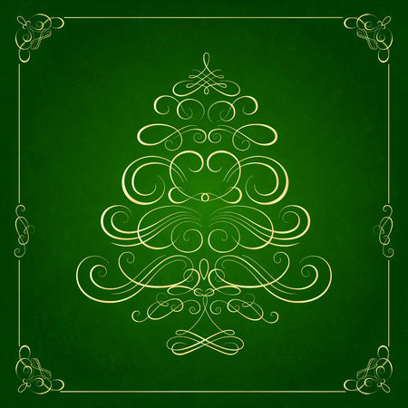 green: Calligraphy Christmas tree on green background. Vector illustration Illustration