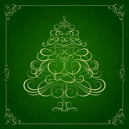christmas deco: Calligraphy Christmas tree on green background. Vector illustration Illustration