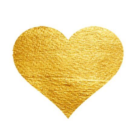 foil gold: Heart Love Gold Watercolor Texture Paint Stain. Golden design element. Vector