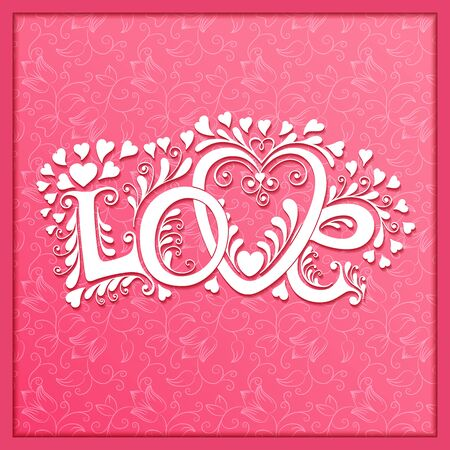 day saint valentin: Love hand lettering. Valentines day Greeting Card.