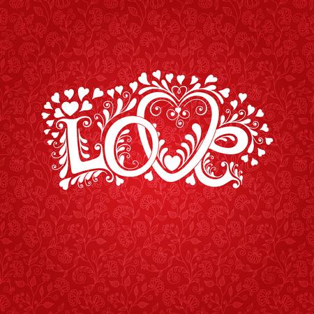 valentin: Love hand lettering. Valentines day Greeting Card.