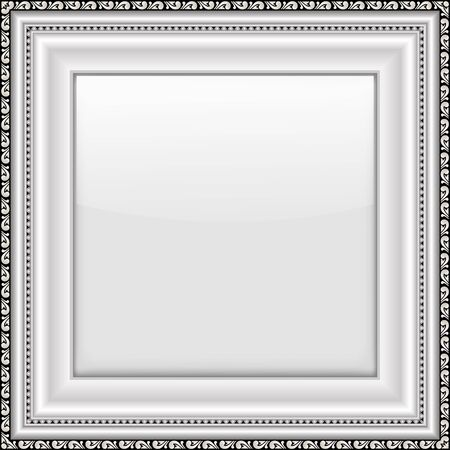 silver picture frame: Empty silver picture frame. Isolated on white background. Vector illustration