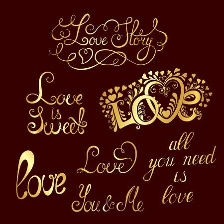 Set of hand-written words. Love lettering. Vektoros illusztráció