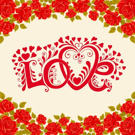 valentino: Love hand lettering. Valentines day card with red roses, vector illustration